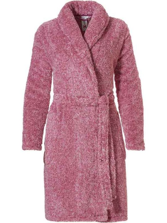 Roze-rode Rebele fleece dames badjas